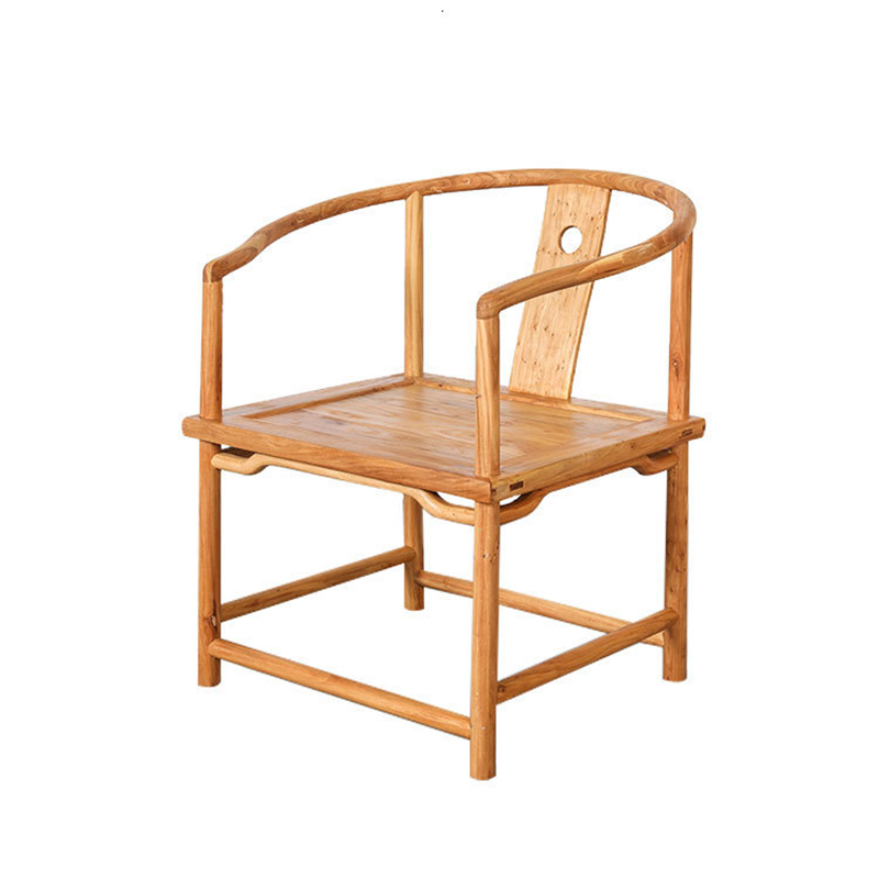 Yushu Furniture New Chinese Tenon And Mortise Environmental Protection Paint-free Hot Wax Round Chair Solid Wood Tea Table Chair