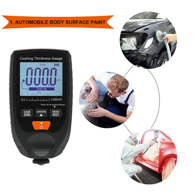 Car Paint Coating Thickness Gauge Car Paint Electroplate Metal Coating Thickness Tester Meter 0-1500um Fe & NFe Probe