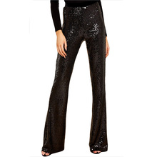 Women Bell Bottom Pants Casual Solid Skinny Elastic Low Waist Full Length Sequined Trousers Sparkling Clothes