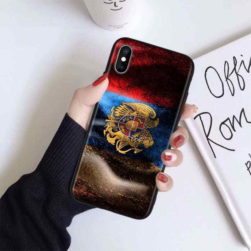 Армяне, чехол с флагом для Apple iphone 11 Pro XR XS Max X 7 8 6 6S Plus 5 5S SE, Черный силиконовый чехол для телефона