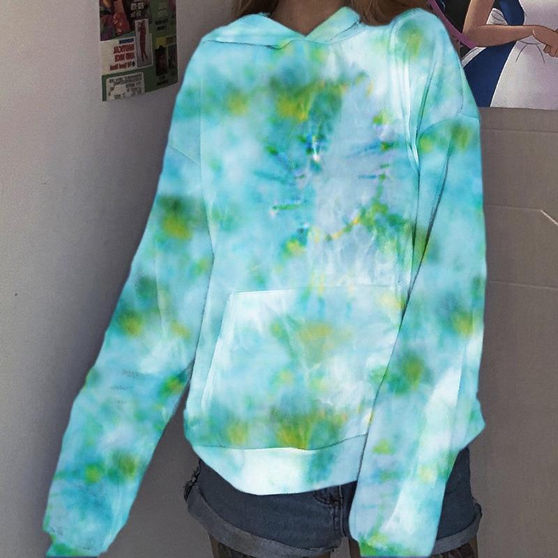 Свитшот женский окрашенный в завязку с капюшоном Свободный пуловер