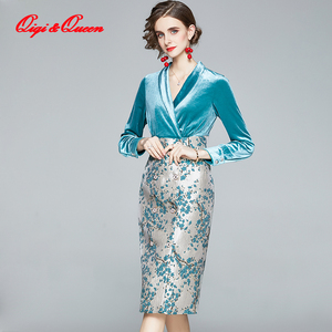 Qiqi&queen Autumn Jacquard Stitching Velvet Fashion Business Office Pencil Dress High Waist Slim Women's Elegant Party Dresses