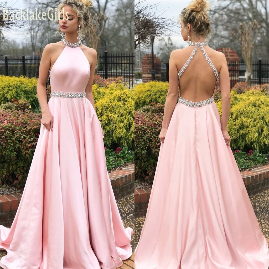 BacklakeGirls Sexy Halter Neck Backless Evening Dress Women's Sleeveless Crystal Satin Dress Abend Kleid Prom Dress Long