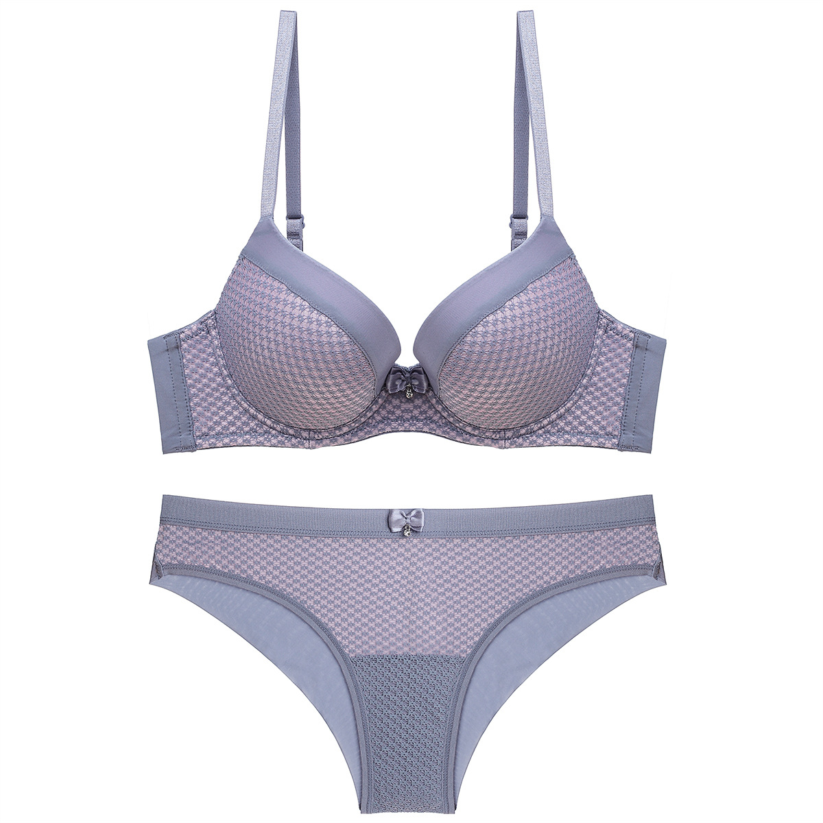 Women Padded Bra Set 3/4 Cup Houndstooth Pattern Underwired Push Up Padded Bra And Panties For Women Lingerie