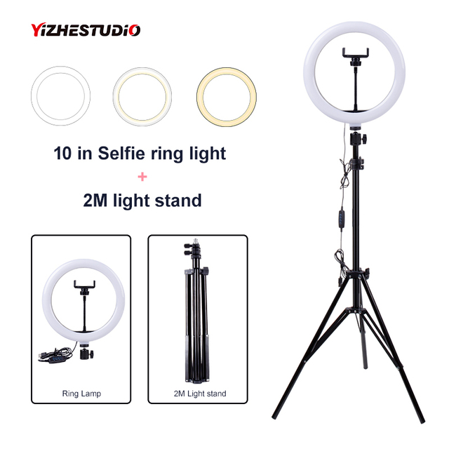 $ US $22.28 Yizhestudio Video Light with light stand 10 in Video ring lamp USB Plug  photographic ring lighting kit for Live Studio Makeup