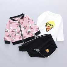Autumn Baby Girl Clothes 3PCA Long Sleeve Cartoon T-shirt Zipper Sweatshirt Trousers Casual Outfits 0-4T Cute Toddler Clothes(China)