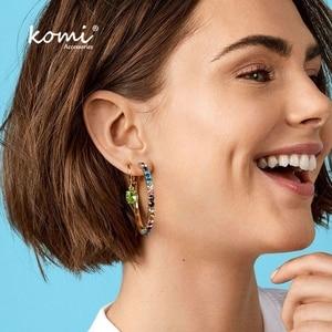 Коми Бохо Популярные преувеличенные Висячие серьги цветной кристалл большой круг женские модные ювелирные изделия F0216