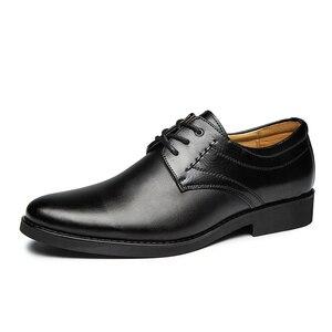 Image 1 - 2020 נעליים רשמיות גברים עגול הבוהן גברים שמלת נעלי עור גברים אוקספורד נעלי גברים אופנה שמלה הנעלה