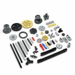 119PCS Groß MOC Technic Teile Räder Getriebe Kreuz Achse Pin Balken Anschlüsse Auto Ersatz Kompatibel mit Lego in Technic block