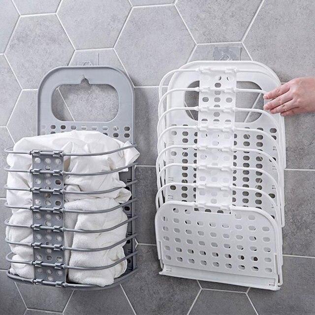 Best Sale 6326e Foldable Plastic Hamper Storage Basket Household Bathroom Wall Hanging Laundry Basket Bedroom Dressing Basket Cicig Co