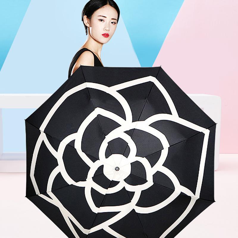 Creative Three Fold Ultralight Sun-resistant Double Layer Parasol Camellia Graceful Foldable Rain Or Shine Vinyl Umbrella Black