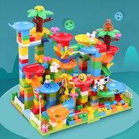 Luxurious DIY Marble Race Runs Building Blocks Compatible Legoed Duploed Maze Ball Track Construction Bricks Toys For Children
