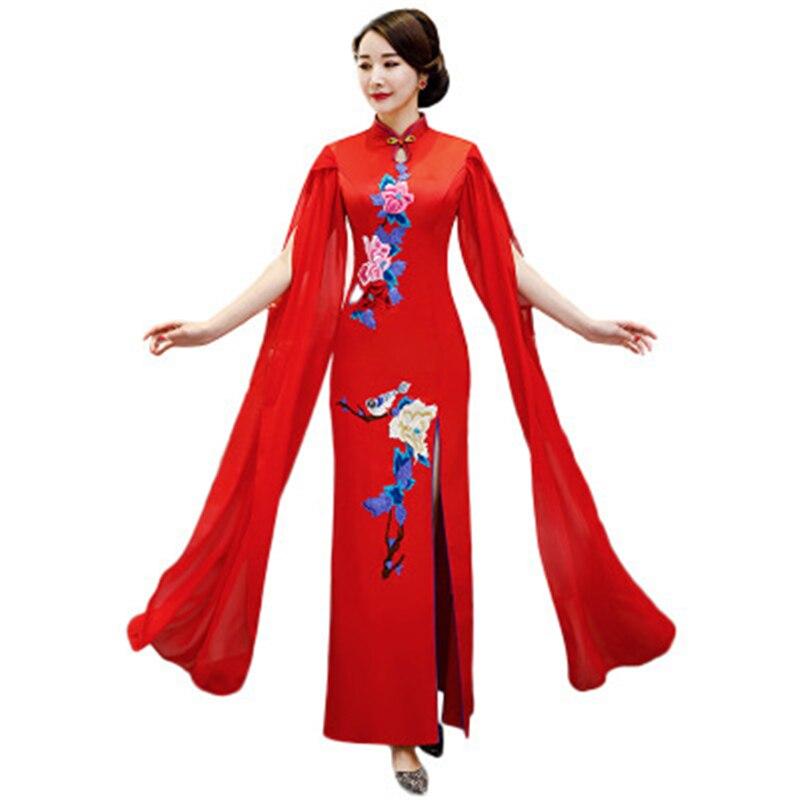 Qipao Long Red Gowns Oriental Womens Evening Cheongsam Wedding Party Dress Traditional Chinese Elegant Retro Vestido Chino