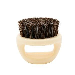 Image 4 - 1 sztuk wzór pierścienia włosia konia mężczyzn pędzel do golenia z tworzywa sztucznego przenośny fryzjer broda szczotki Salon czyszczenia twarzy Razor Brush Y 87