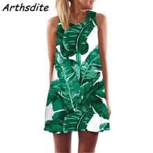 Arthsdite Summer Dress Women New 2019 Fashion Leaf Print Cute Party Dress Sleeveless O neck Casual Chiffon Dresses Vestidos цена и фото