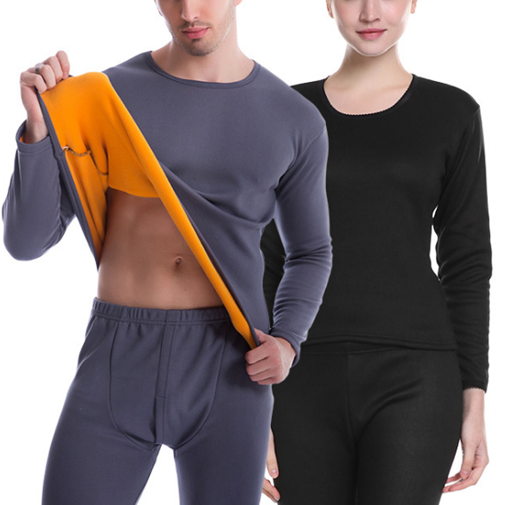 Women/Men Ultra Soft Thermals Underwear Long Johns Set With Thick Plush Lined XRQ88