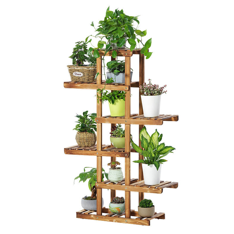 H1 Natural Solid Wood Plants Stand Flower Pot Display Rack Creative Plant Storage Shelves Wooden Organizer for Terrace/ Patio|Garden Carts| |  - title=