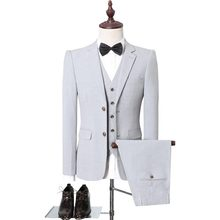 Dressv Gray Men Suits Slim Plus Size S-5XL Men Business Wear Suits Wedding Prom Suits Coffee 3 Pieces Groom Suits(China)