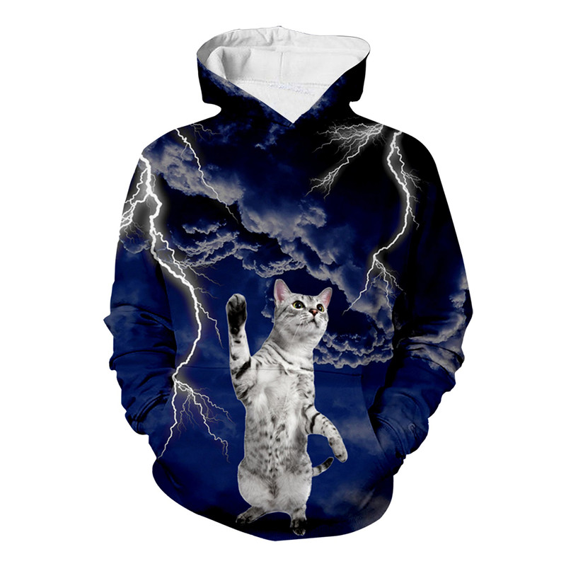 Cute Cat Lightning 3D All Over Print Crewneck Pullover Hoodies Sweatshirt Hipster Casual Streetwear Men Unisex Clothing
