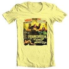 Frankenstein encontra o monstro espacial t camisa b filme sci fi vintage algodão t