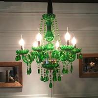 Modern LED Green Crystal Chandelier Lights Lamp For Dining Living Room Light Ceiling Fixture Indoor Pendant Lamp Home Decorative