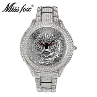 MISSFOX Elegant Luxury Watch Women Fashion Silver Watches Leopard Big Dial Ladies Women's Watches Clock Reloj Mujer Montre Femme