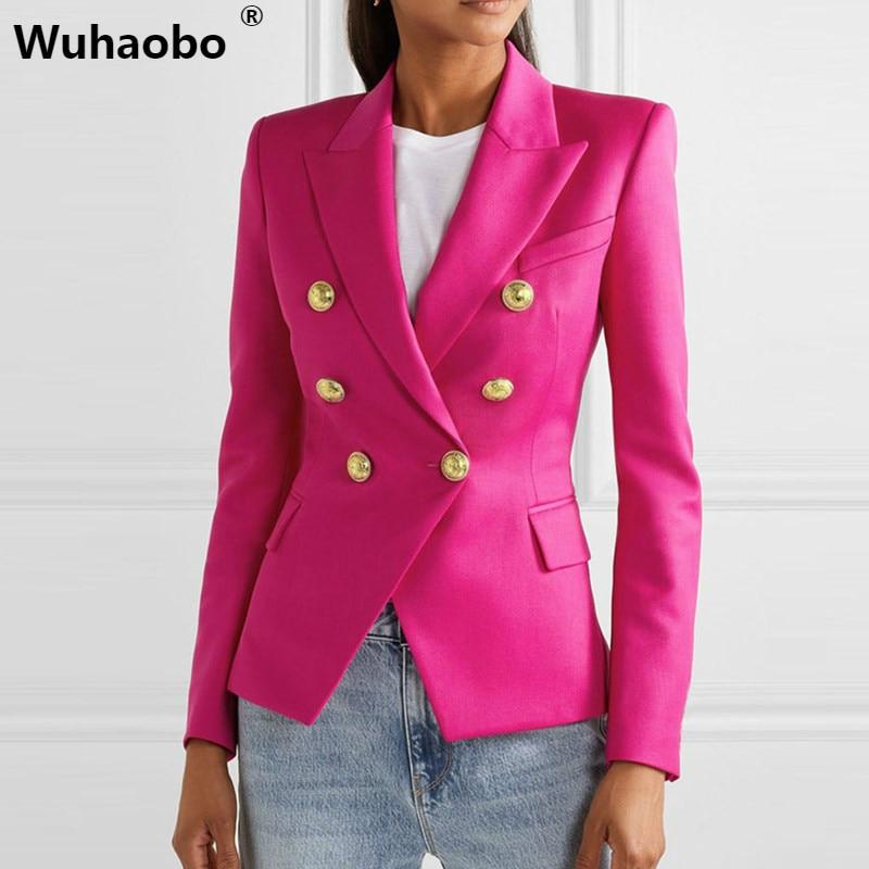 Wuhaobo Autumn Winter Plaid Print Casual Blazer Women Long Sleeve Notched Slim Women Coat Buttons Elegant Office Lady Blazer Top