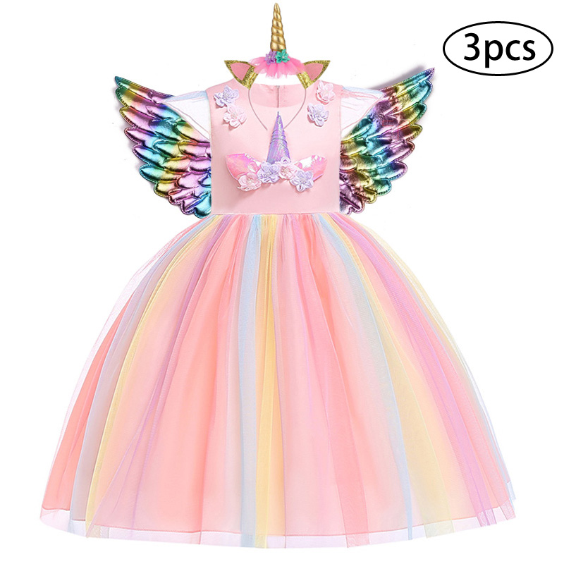 H817a2611a3554579aa4a2e73408d1615e New Girls Dress 3Pcs Kids Dresses For Girl Unicorn Party Dress Christmas Carnival Costume Child Princess Dress 3 5 6 8 9 10 Year