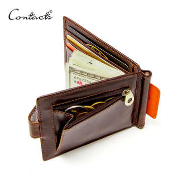 CONTACT'S cow leather money clip men card wallet thin money clamp for 10 cards male bifold credit card case with zip coin pocket - DISCOUNT ITEM  43% OFF All Category