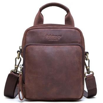 small Genuine Leather men's Shoulder bag mini cowhide leather Crossbody bags fashion Handbags Leather man Messenger bag