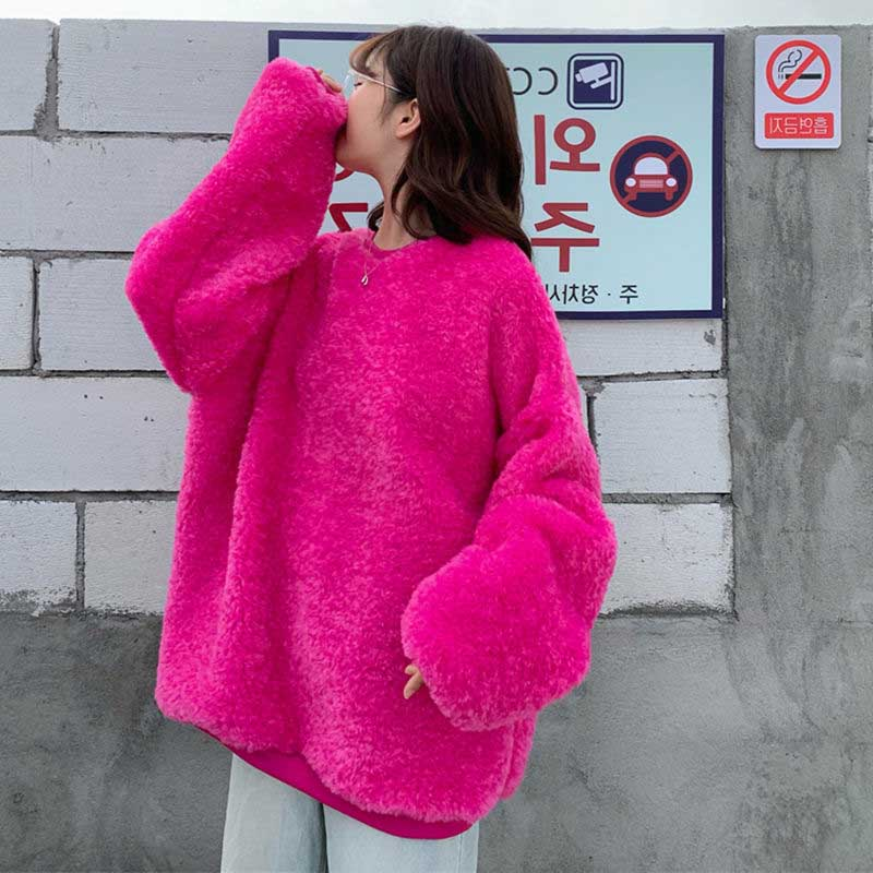 NiceMix Pullover Autumn Plush Oversized Hoodie Dress Sweatshirt Women Top Loose Long Hoodie Sweatshirt Winter Ladies Pullover Fe