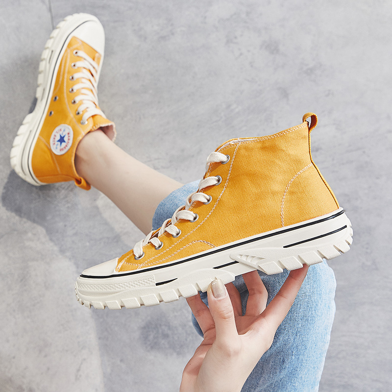 Thick Bottomed Canvas Shoes Women's INS Fashion 2019 New Style Hight-top Casual Shoes Summer Online Celebrity Hip Hop Sports Sup