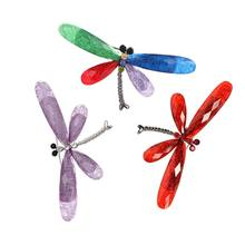 Fashion Resin Dragonfly Bros 12 Warna 1PC Hat Setelan Bisnis Vintage Kristal Serangga Sweater Syal Hewan Rok Bros Pin(China)