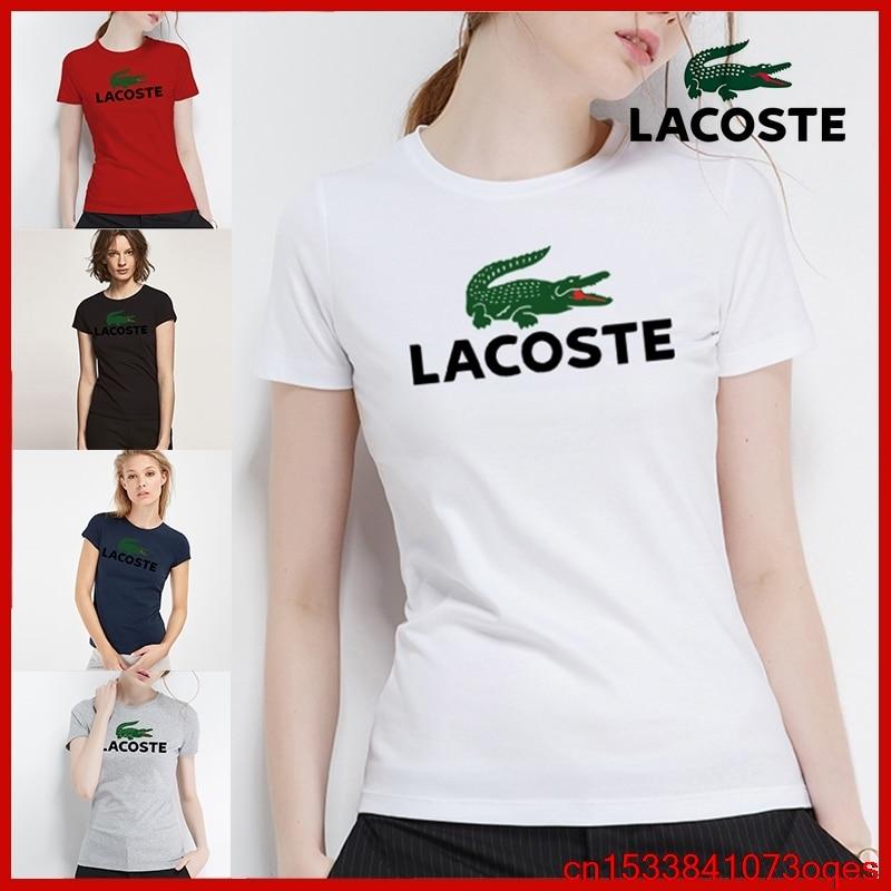 Lacoste- New Original Brand T Shirt Women Tops Summer Short Sleeve Fashion T-shirt 100% Cotton Tshirt 2LA20