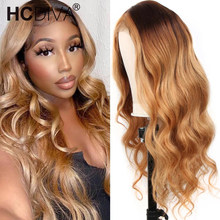 Lace Wig Human-Hair-Wig Body-Wave Brown Highlighted-Wigs Honey-Blonde Brazilian T-Part