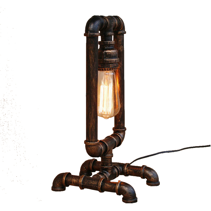 Loft industrial wind table lamp iron water pipe American retro bar bedroom office bedside table light reading pipe desk lamp