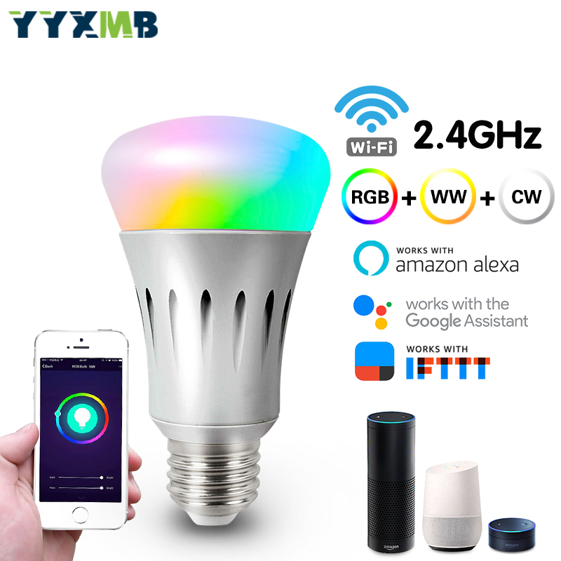 YYXMB Smart House Wifi Lamp Led Lamp RGB+WW+CW Dimmable LEDBulb Support Amazon ECHO/Google Home/IFTTT Remote Voice Control Smart