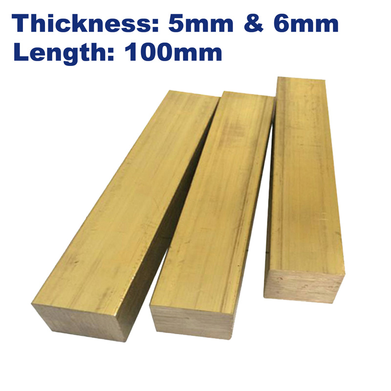 Metal Brass Square Bars,thickness 5mm/6mm,length 100mm