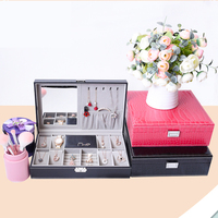 Handmade PU Leather Watch Box Necklace Earring Storage Show Case Display