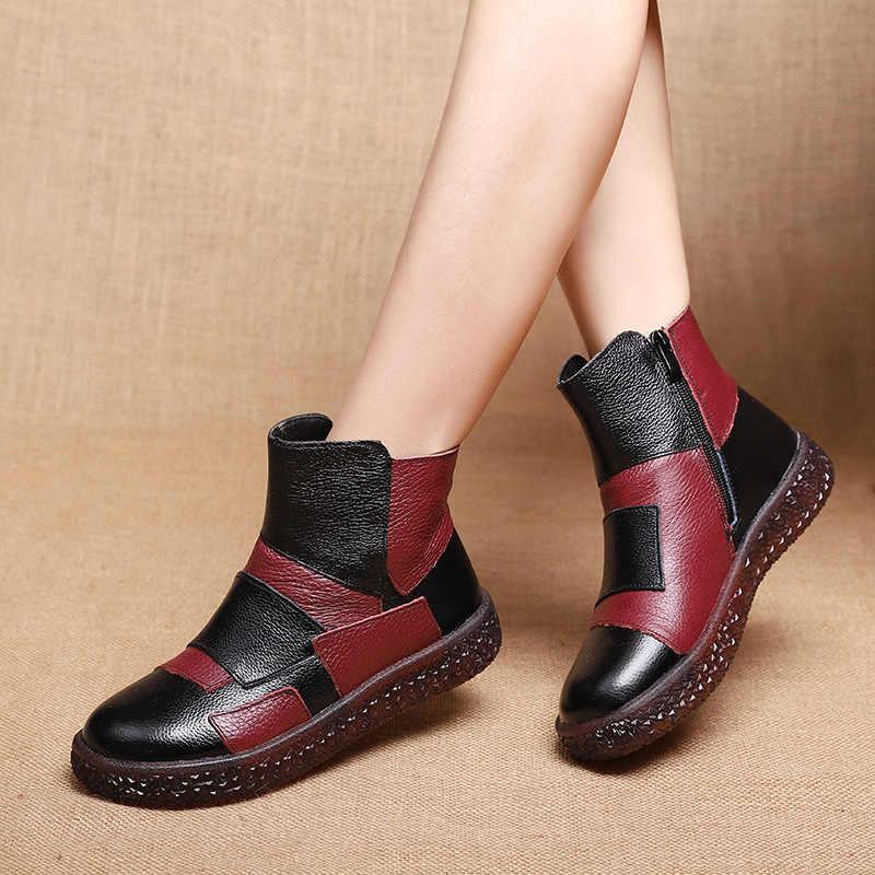 Xiuteng Yeni Bahar Yumuşak Alt Düz Çizmeler Ile Rahat Deri El Yapımı Dikiş Kadın ayakkabı Kış Yuvarlak Ayak Karakteristik