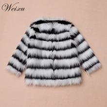 цена на 2019 Baby Girls Autumn Winter Fur Coat European Kids Black White Stripe Imitation Fur Coat 2-9 Years Kid Faux Fur Fabric Clothes