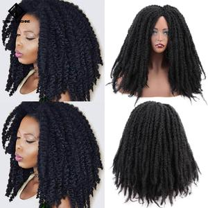 Image 3 - 18Inch Synthetische Afro Kinky Straight Pruiken Natuurlijke Zwart Marley Vlechten Pruik Voor Vrouwen