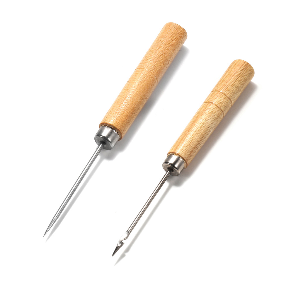 2pcs Wooden Handle Sewing Awl Hand Stitching For DIY Leather Bracelet Jewelry Making Repair Tool Punch Sewing Needle Hook Tool