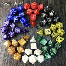 7 шт./компл. RPG игральные кости для подземелий драконы D4-D20 многогранные игры Кубики 8 цветов Настольный многогранный набор акриловый пластик...