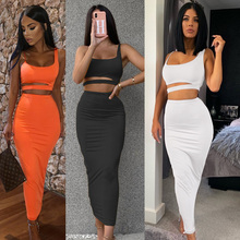Sexy 2 Piece Set Women Hollow Out Sling Vest Crop Top+Elastic Bodycon Long Skirt Club Outfits Summer Dress Bandage Matching Sets