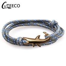 CUTEECO Anchor Bracelets Charm Chain Rope Metal Bracelet Anchor Male Gift Hooks Jewelry Fashion Golden Bracelet Men Shark layered anchor knitted bracelet