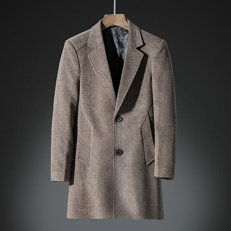 Men Windbreaker Male Long Wool Blend Coat Loose Large Size Thick Overcoat Fashion Casual Windbreaker Winter Tops Cashmere Coat