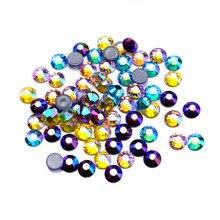 цена на Hotfix Rhinestones Shiny Crystal AB strass glue on applique glass hotfix flatback stone rhinestones for crafts weding decoration