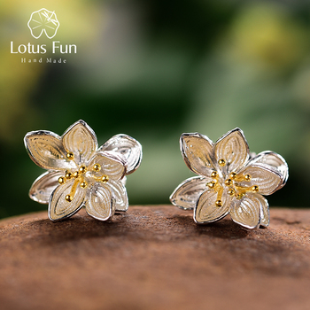 Lotus Fun Real 925 Sterling Silver Earrings Natural Creative Handmade Fine Jewelry Lotus Whispers Stud Earrings for Women Bijoux lotus fun 925 sterling silver brooches for women lotus flower lapel pins men suit scarf collar brooch fine jewelry