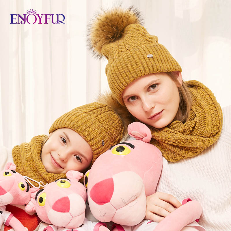 ENJOYFUR Women Hat And Scarf Set For Girl Wool Knitted Baby Hat Girl Female Winter Scarf Cotton Caps Children Boy Parental Suit
